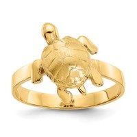 14K Yellow Gold Textured Sea Turtle Ring