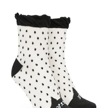 Cat Polka Dot Crew Socks