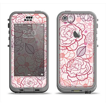 The Subtle Pink Floral Illustration Apple iPhone 5c LifeProof Nuud Case Skin Set