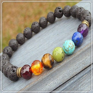 Fashion Women Man Lava Rock Beaded Stretch Yoga Gemstone Bracelets Mala Energy Bracelet 8mm [8069656135]