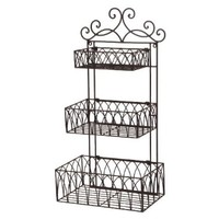 Tuscan Wrought Iron Metal 3 Tier Wall Shelf or Wall Planter