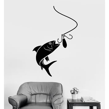 Vinyl Wall Decal Fish Fishing Rod Club For Fisherman Logo Stickers (3350ig)