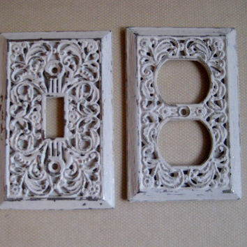 Bedroom or Bath Lightswitch and plug cover set, vintage brass painted with an antique white chippy paint finish