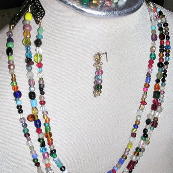 Shabby Chic Ensemble with Beads in Colors of the Rainbow and Brass Stations