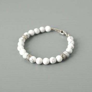 Howlite Men Bracelet, White Stone Bracelet, Genuine Howlite Jewelry for Men, Unisex Accessories
