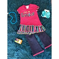 2018 School Colorful Fun Little Genius Pant Set