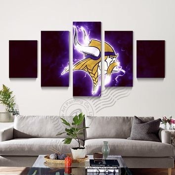5 Panel Minnesota Vikings Sport Logo Poster Canvas Wall Art Oil Painting Home Decor Modular Wall Picture For Living Room Unframd