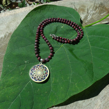 Sacred Geometry Sahashrara Necklace Stone Beads Star Ruby Black Spinel Handmade Gemstone Metaphysical Chakra Kynd Vallley