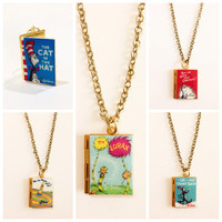 The Cat in the Hat,The Lorax,Oh The Places You'll Go,How The Grinch Stole Christmas by Dr. Seuss Book Locket Necklace/Bracelet/Bookmark