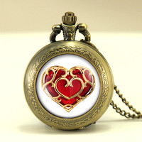 life Zelda heart container pocket watch locket necklace jewelry, legend of Zelda vintage Pendant locket necklace