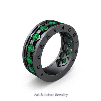 Caravaggio Mens Modern 14K Grey Gold Princess Emerald Wedding Band R313M-14GGEM