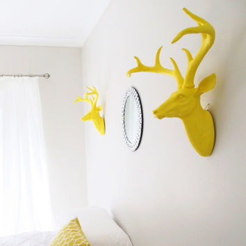 Deer Head, Faux Deer Head, Faux Taxidermy, Deer Decor, Yellow Deer Head, Faux Stag Head, Animal Head, Deer Head Australia, Faux Stag Head,