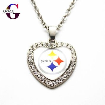 Fashion Pittsburgh Steelers Football Sports Charms Heart Crystal Necklace Pendant With 50cm Chains For Women Men Diy Jewelry