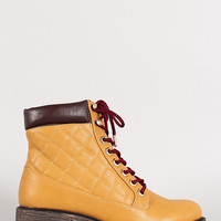 Two Tone Leatherette Quilted Lace Up Hiking Bootie