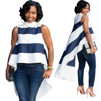 Wide Stripes High Low Blouse