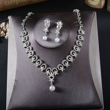 Stunning Silver Rhinestones Crystals Pearls Wedding Jewelry Set Bridal Necklace Earring Set Banquet Jewelry Set Bridesmaids