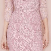 Purple Lilac Lace Scoop Neck 3/4 Sleeve Cut Out Back Bodycon Midi Dress