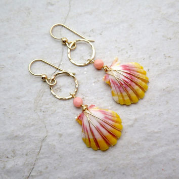 Sunrise Shell Earrings, Small Rare Hawaiian Shells, Gold Wire Wrapped, Orange, Pink, Hawaii Beach Jewelry, Mermaid Jewels, Mothers Day Gift
