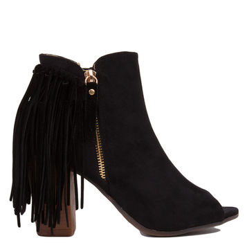 Open Toe Black Fringe Heeled Booties