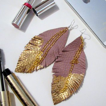 Feather Earrings - Leather Feather Jewelry, Leather Earrings, powder pink leather