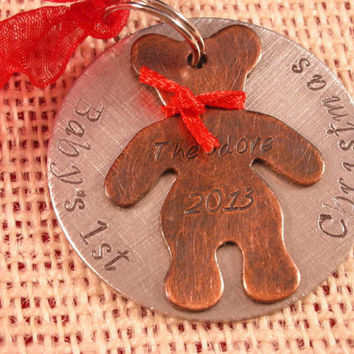 Baby's First Christmas Ornament-Unique Hand Stamped Baby's First Christmas Ornament-Teddy Bear Ornament-Custom Hand Stamped Baby Ornament