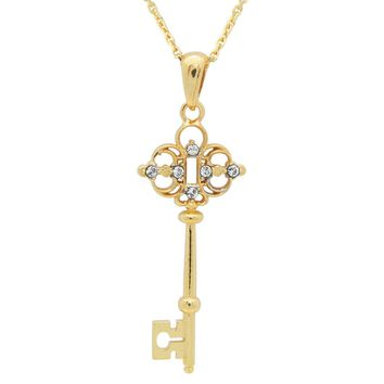 "Women 18k Gold Plated Sterling Silver Victorian Key Pendant Necklace 17"" - Free Shipping"