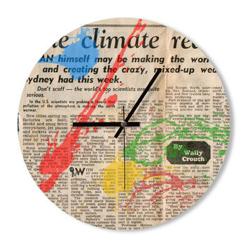 Wall Clock newspaper colorful clock home decoration wall art children's room clock bedroom living room office clock snowbald