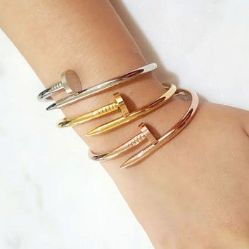 Screw Detailed Nail Bangle Bracelet  Gold Rose Gold White Gold
