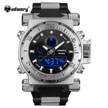 luxury brand INFANTRY Business Big Dial Analog Digital military watches, silicone Waterproof Men Watches Relojes Hombre 2018