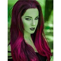 Long Poppy Dark Reddish Red Ombre Synthetic Lace Front Wig