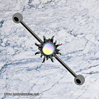 Sun Industrial Barbell Blackline Dazzling 14ga Scaffold Bar Body Jewelry