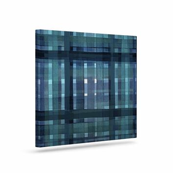 """Ebi Emporium """"PLAID FOR YOU, TEAL BLUE"""" Blue Teal Stripes Pattern Mixed Media Painting Art Canvas"""
