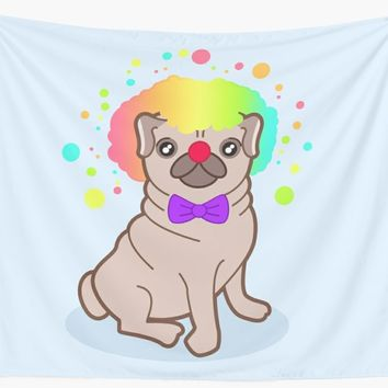 'Pug dog in a clown costume' Wall Tapestry by EuGeniaArt