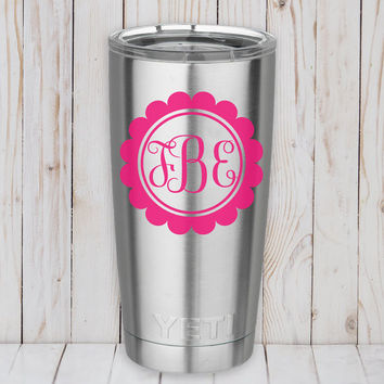 Yeti Decal - Yeti Monogram - Yeti Decal for Women - Monogram Decal for Yeti - Yeti cup decal -  Decals for Yeti Cups - Yeti Tumbler Decal