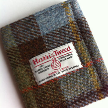 Harris tweed mans wallet made in Scotland gift Scottish wool vegetarian wool plaid tartan UK British