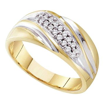 10kt Yellow Two-tone Gold Men's Round Pave-set Diamond Diagonal Double Row Wedding Band 1/4 Cttw - FREE Shipping (US/CAN)
