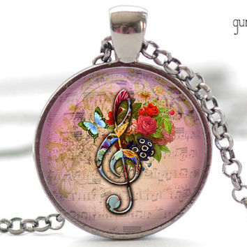 G-Clef Necklace, Music Note Charm, G-Clef Jewelry, Musical Pendant (1175)