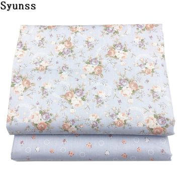Syunss New Gray Floral Print Twill Cotton Fabric DIY Handmade Sewing Patchwork Baby Cloth Bedding Textile Quilting Tilda Tissus