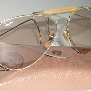 62mm LARGE SIZE VINTAGE B&L RAY BAN BROWN PHOTOCHROMIC LENS AVIATOR SUNGLASSES