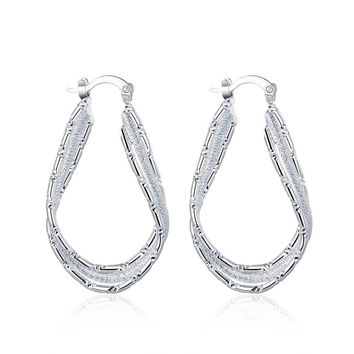 india silver plated earring streamline clip orecchini wedding jewelry smte4 J4U66