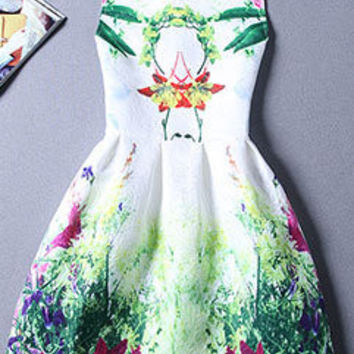 Japanese Style Women Printed Fashion Dress