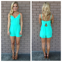 Mint Scallop Open Back Romper