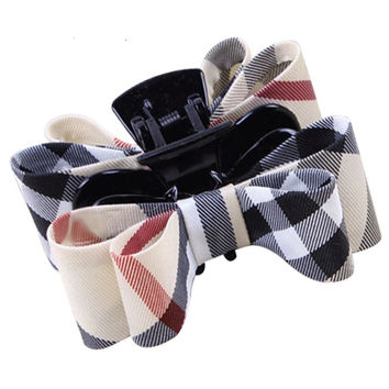 Double bow women's hair claw clip fashion grils plaid hairpin baby Headwear UK style high quality hair clips