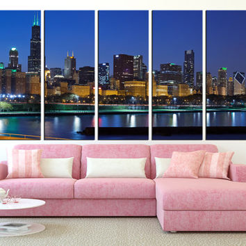 Chicago Wall Art Canvas Print, Chicago Skyline Wall Art, Large