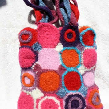 Crochet felted bag, handbag, purse, bright circle design, OOAK, handmade, pink, purple, blue