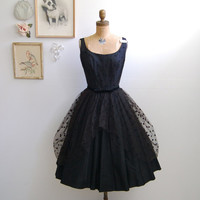 Vintage 1950s Cocktail Dress - 50s Polka Dot Black Dress - The Eva