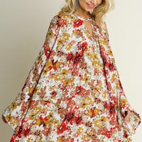 Fall Floral Dress - Cream