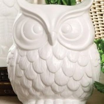 Owl Vase, WIDE, WHITE