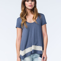 Honey Punch Lace Inset Sharkbite Womens Tee Slate  In Sizes