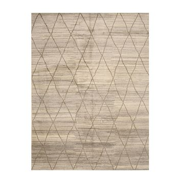 EORC Hand-knotted Wool Ivory Transitional Trellis Moroccan Rug